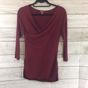 Vince Camuto Mock Wrap Deep Red Tunic Top